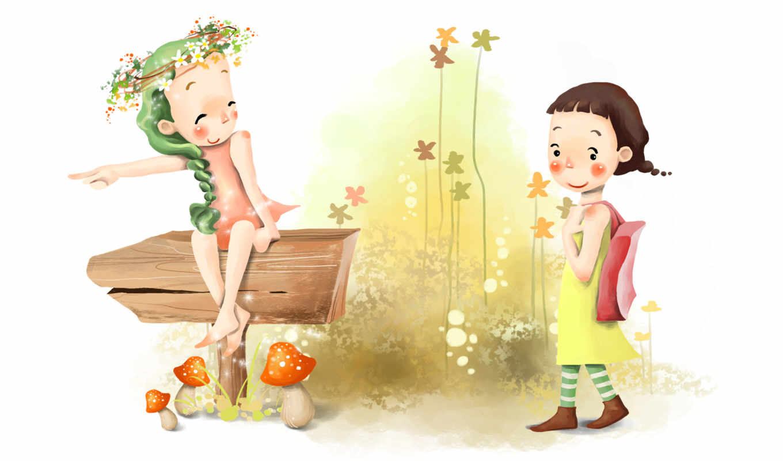 нарисованные, дети, девочки, указатель, дорога, цветы, грибы, босиком, венок, косичка, сумка