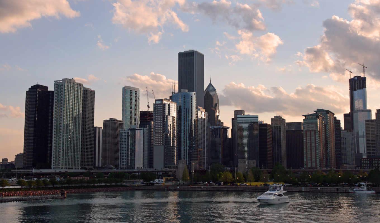 chicago, usa, skyline, georgia, ночь, город, atlanta,