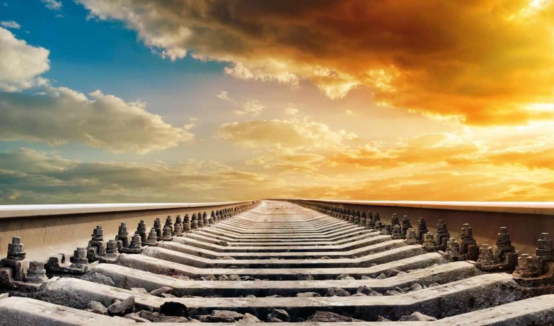 дорога, железная, рельсы, природа,