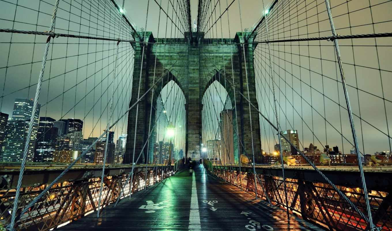 бруклин, мост, york, new, нью, город, ночь, огни,