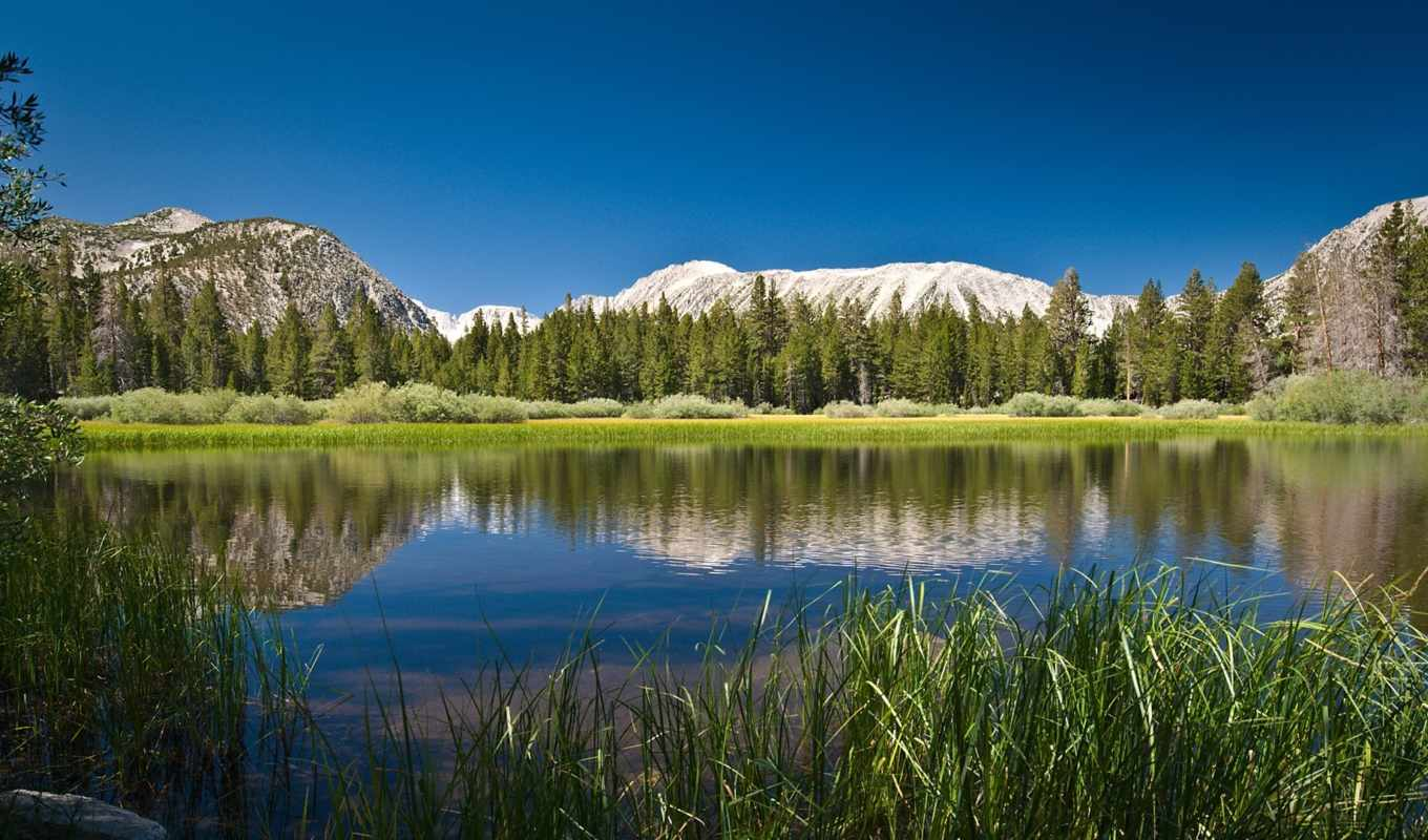 mountain, lake, небо, горы, трава, wide, гор, widescreen, воде, отражение, картинку, картинка, nature, desktop,
