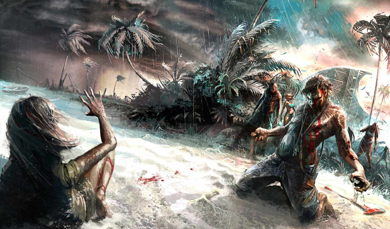 dead, island, zombie, пляж, wall, adventure, стены, приключения, max,