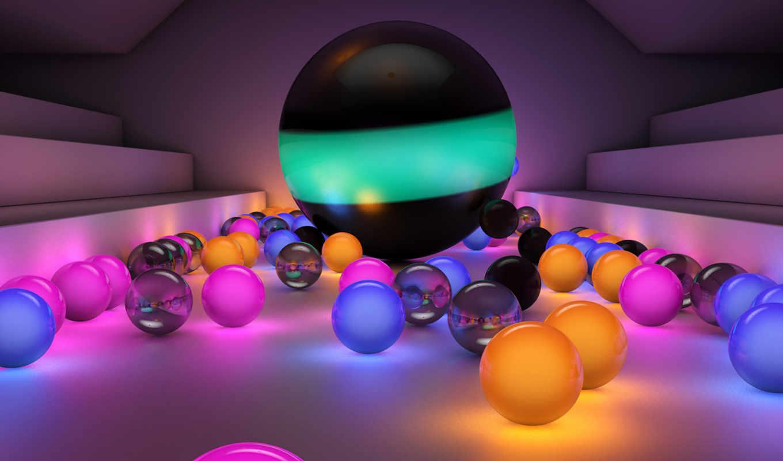 красивые, светящиеся, шарики, разноцветные,