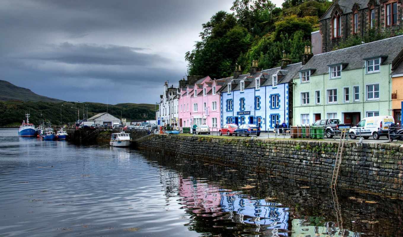 шотландия, portree, isle, гавань, android, apk, town, skye