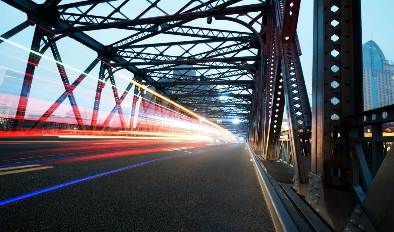 мост, truss, сплошной, огни, ночь, город, nuit, traffic, ville