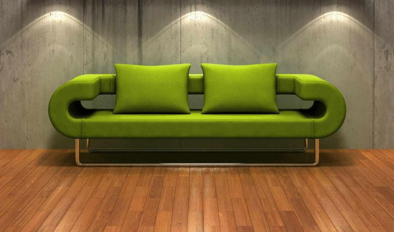 зеленый, диван, современный, sedací,