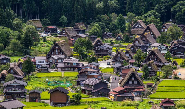 деревня, япония, japanese, заставка, world, ночь, наследие, line, house