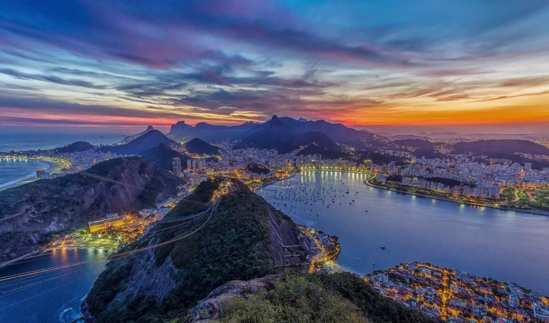 рио, город, zhaneiryi, гора, закат, house, bay, панорамма, ocean
