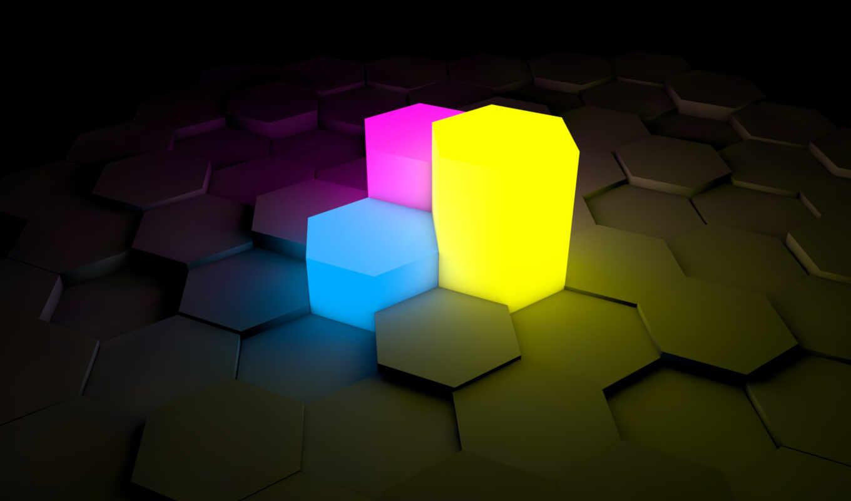 hexagon, background, اس, голубой, light, black, shadows, abstract, желтый, red, фиолетовый, colors, purple, cinema,