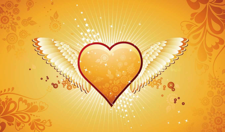heart, wings, shaped, orange,