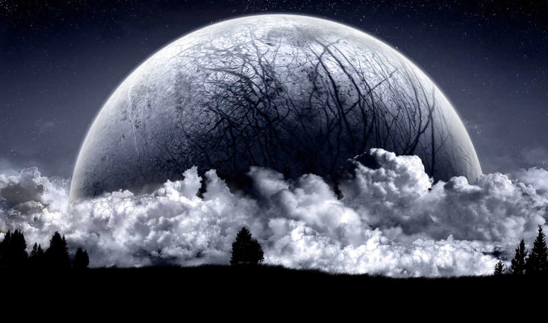 moon, dark, snowy, desktop, christmas, full, luna, деревья, ночь, wide, облака, космос,