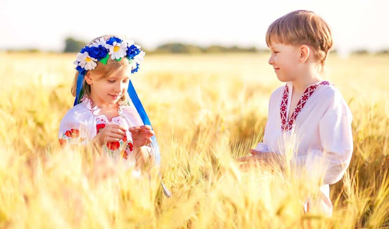 мальчик, девочка, рожь, вышиванка, венок, лента, цветы