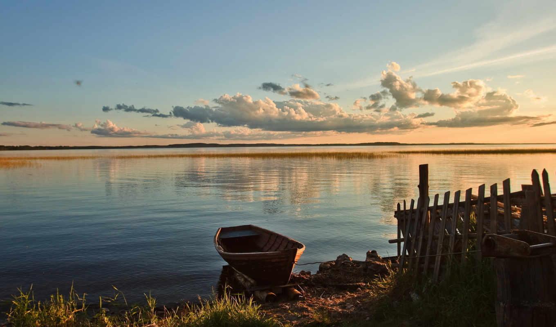 лодка, берег, озеро, озера, берегу, лодки,