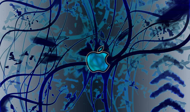 apple, лого, абстракция, синий