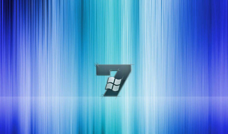 windows, Se7en, лого, полосы, голубой