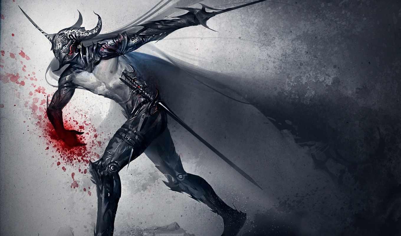 шлем, оружие, меч, кровь, арт, knight, dark, sakim