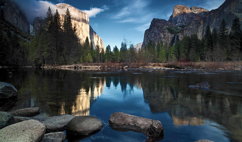 ели, горы, водопад, облака, камни, река, природа, landscapes, картинка,