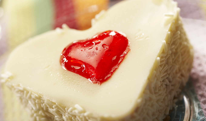 пироженое, белое, сердце, макро