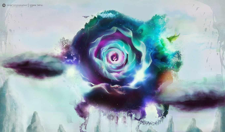 лепестки, цветок, креатив, desktopography, картинка, картинку, птица,