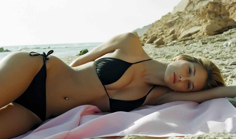девушка, пляже, девушки, черном, бикини, пляж,