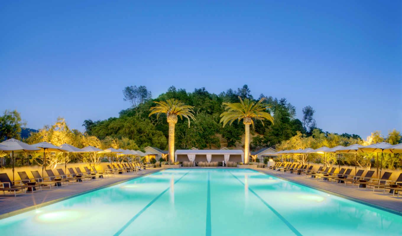 пальмы, бассейн, exterior, широкоформатные,