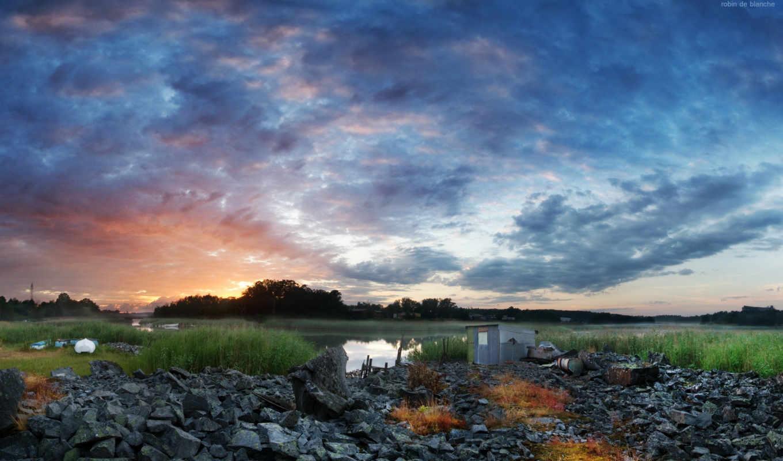 озеро, закат, категория, закат, камни, красивых,
