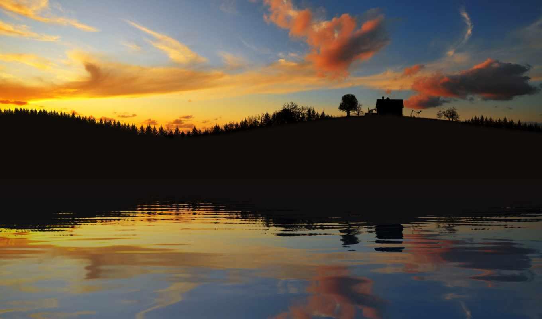 вечер, фон, free, небо, природа, озеро, clouds,