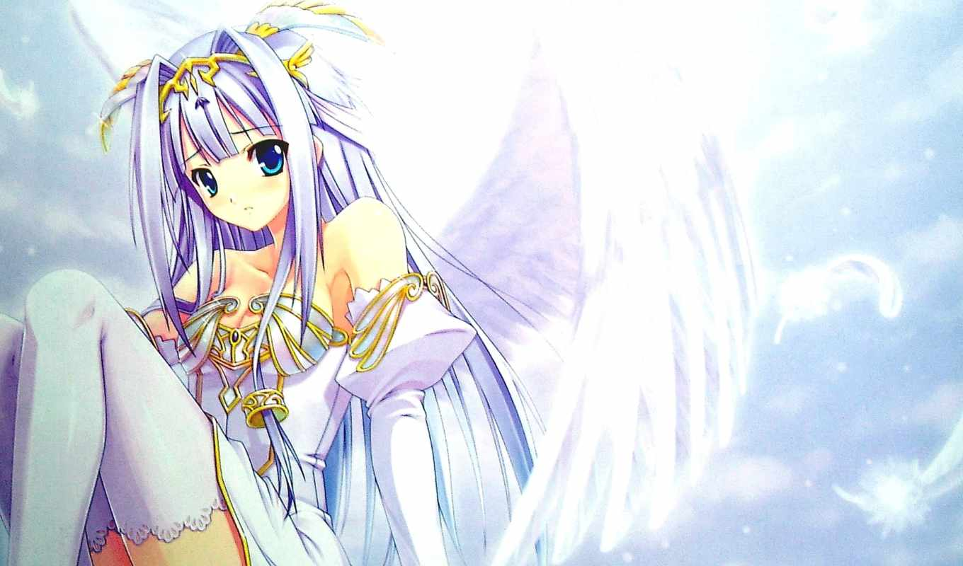 anime, волосы, white, eyes, девушка, angel, wings, gold, blue,