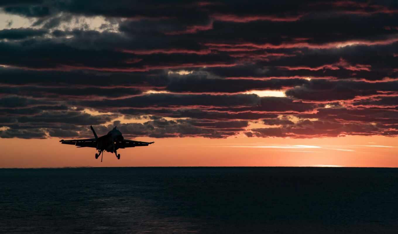небо, закат, hornet, douglas, red, mcdonnell, реактивный, transportation, air, plane