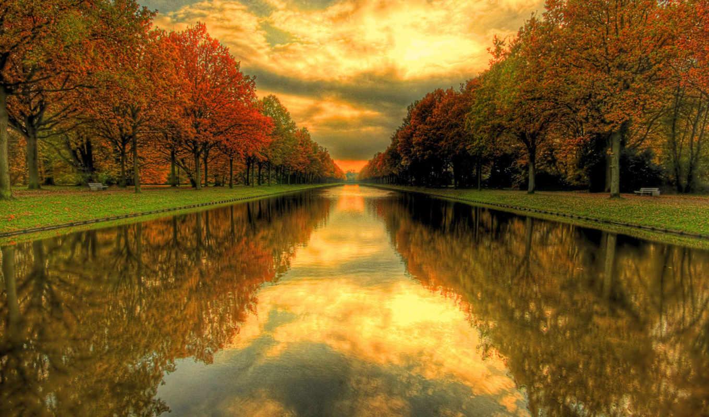 вода, hdr, канал, парк, деревья, небо, fall, скамейки, зелень, горизонт, пейзажи, осень, природа, трава, season,