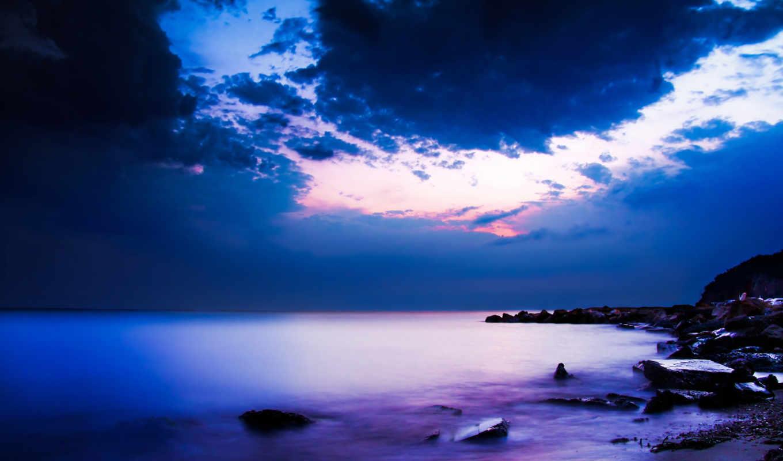 небо, океана, красивые, ночь, ночные, облака, природа, высокого,