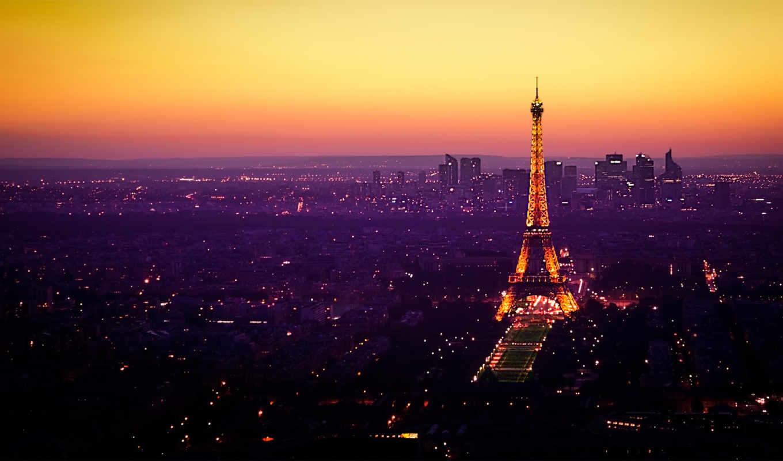 париж, франция, башня, эйфелева, огни,
