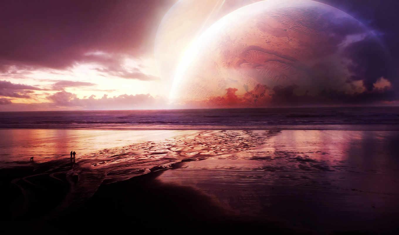 море, planet, закат, люди,