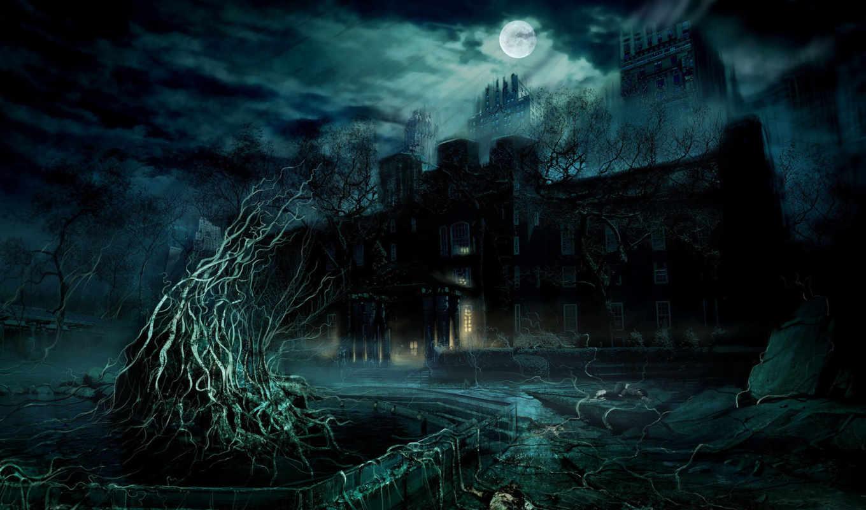 ночь, house, луна, ужасный,