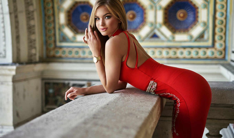 blonde, женщина, платье, red, загар
