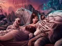 fantasy, девушка, тигр