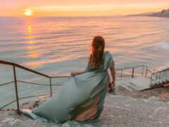 море, девушка, закат