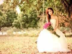 платье, свадебный, цветы
