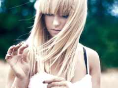 blonde, devushki, челкой