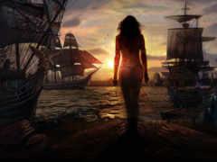 корабли, море, уходят