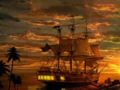 корабль, пиратский, art