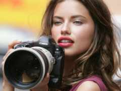 девушка, фотоаппарат, камерой