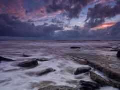 море, камень, закат