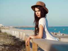 море, шляпа, женщина