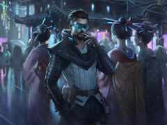 cyberpunk, фон, дым