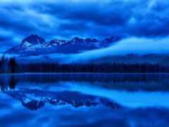 гора, ночь, отражение
