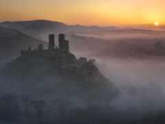 природа, castle, закат