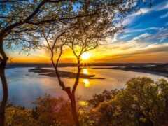 закат, природа, горизонт