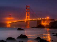 ночь, мост, gate