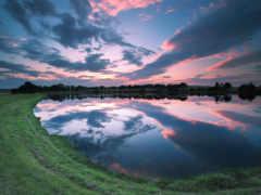озеро, закат, lanier